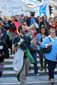'Free Speech at Notre Dame University' student leader Chris Jenkins rallies with HSWA, Equal Love Rally, Perth, May 11.